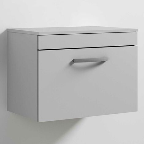 Nuie Athena Wall Hung 1-Drawer Vanity Unit and Worktop 600mm Wide - Gloss Grey Mist