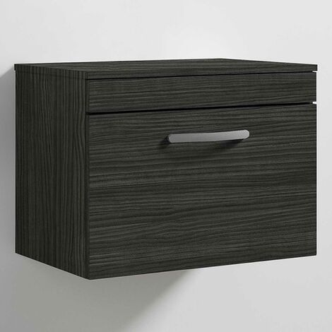 Nuie Athena Wall Hung 1-Drawer Vanity Unit and Worktop 600mm Wide - Hacienda Black