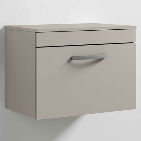 Nuie Athena Wall Hung 1-Drawer Vanity Unit and Worktop 600mm Wide - Stone Grey