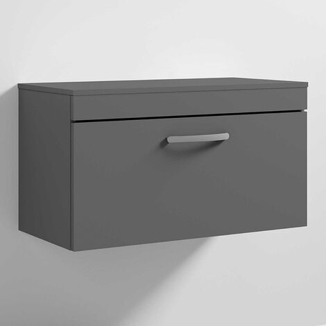 Nuie Athena Wall Hung 1-Drawer Vanity Unit and Worktop 800mm Wide - Gloss Grey