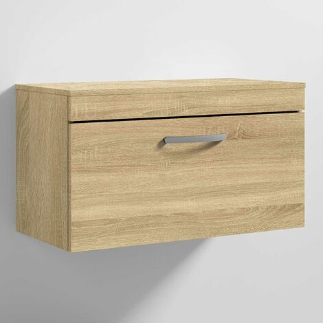 Nuie Athena Wall Hung 1-Drawer Vanity Unit and Worktop 800mm Wide - Natural Oak