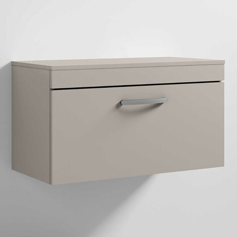 Nuie Athena Wall Hung 1-Drawer Vanity Unit and Worktop 800mm Wide - Stone Grey