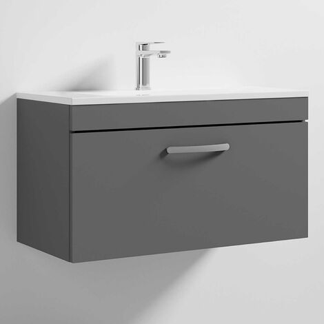 Nuie Athena Wall Hung 1-Drawer Vanity Unit Basin-2 800mm Wide - Gloss Grey