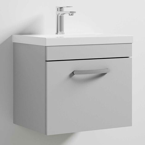Nuie Athena Wall Hung 1-Drawer Vanity Unit with Basin-1 500mm Wide - Gloss Grey Mist
