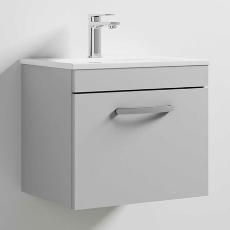 Nuie Athena Wall Hung 1-Drawer Vanity Unit with Basin-2 500mm Wide - Gloss Grey Mist