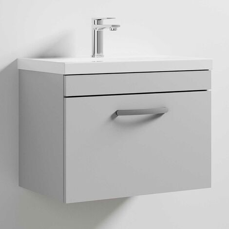 Nuie Athena Wall Hung 1-Drawer Vanity Unit with Basin-2 600mm Wide - Gloss Grey Mist