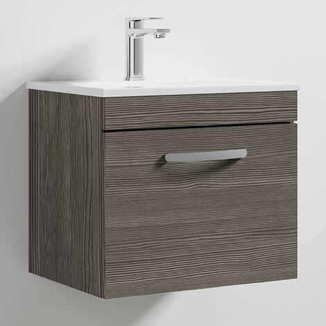 Nuie Athena Wall Hung 1-Drawer Vanity Unit with Basin 2 Brown Grey Avola - 500mm Wide