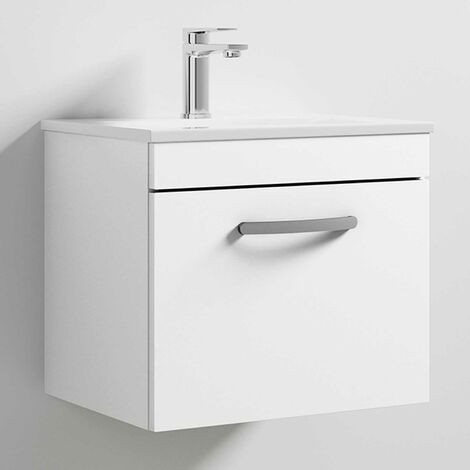 Nuie Athena Wall Hung 1-Drawer Vanity Unit with Basin 2 Gloss White - 500mm Wide
