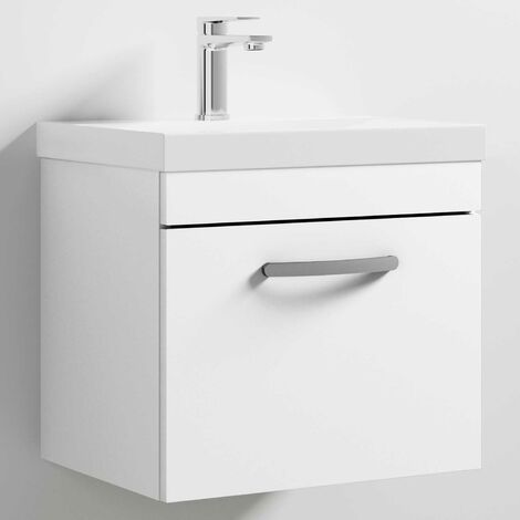 Nuie Athena Wall Hung 1-Drawer Vanity Unit with Basin-3 500mm Wide - Gloss White