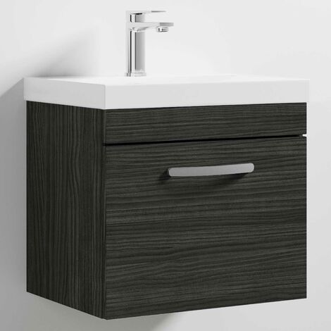 Nuie Athena Wall Hung 1-Drawer Vanity Unit with Basin-3 500mm Wide - Hacienda Black