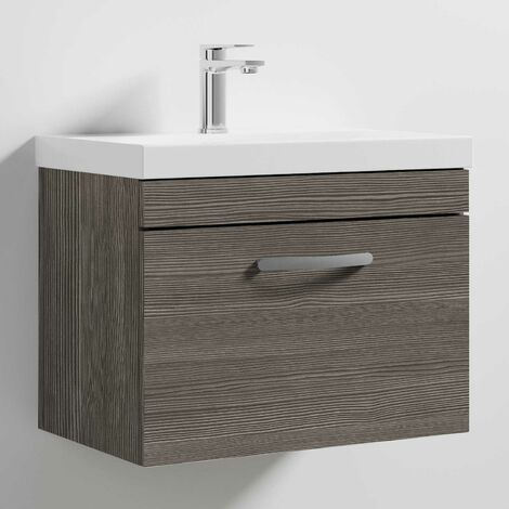 Nuie Athena Wall Hung 1-Drawer Vanity Unit with Basin-3 600mm Wide - Brown Grey Avola