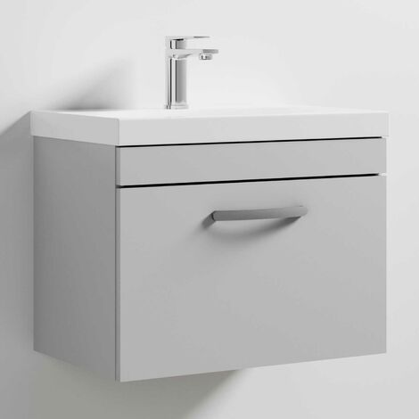 Nuie Athena Wall Hung 1-Drawer Vanity Unit with Basin-3 600mm Wide - Gloss Grey Mist