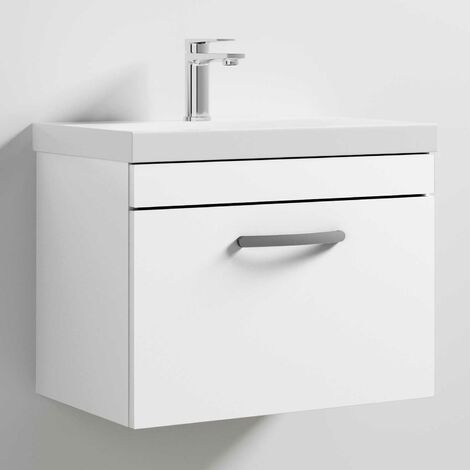 Nuie Athena Wall Hung 1-Drawer Vanity Unit with Basin-3 600mm Wide - Gloss White