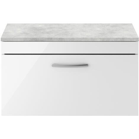 Nuie Athena Wall Hung 1-Drawer Vanity Unit with Grey Worktop 800mm Wide - Gloss White