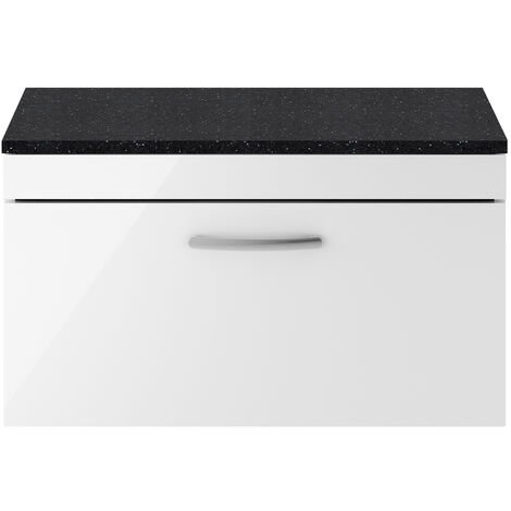 Nuie Athena Wall Hung 1-Drawer Vanity Unit with Sparkling Black Worktop 800mm Wide - Gloss White