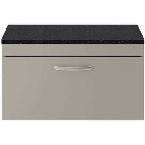 Nuie Athena Wall Hung 1-Drawer Vanity Unit with Sparkling Black Worktop 800mm Wide - Stone Grey