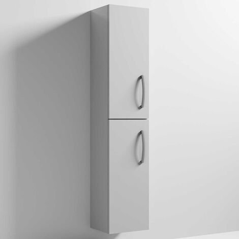 Nuie Athena Wall Hung 2-Door Tall Unit 300mm Wide - Gloss Grey Mist