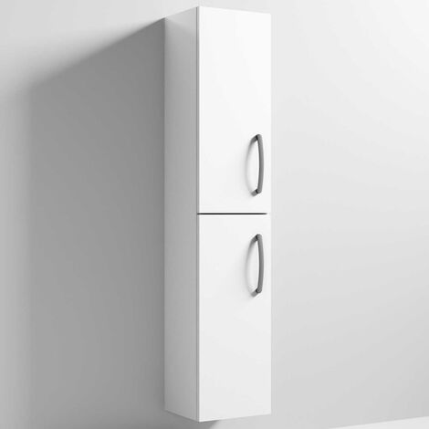 Nuie Athena Wall Hung 2-Door Tall Unit 300mm Wide - Gloss White
