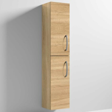 Nuie Athena Wall Hung 2-Door Tall Unit 300mm Wide - Natural Oak