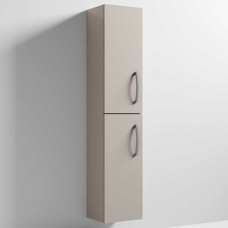 Nuie Athena Wall Hung 2-Door Tall Unit 300mm Wide - Stone Grey