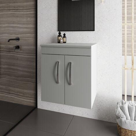 Nuie Athena Wall Hung 2-Door Vanity Unit and Worktop 500mm Wide - Gloss Grey Mist