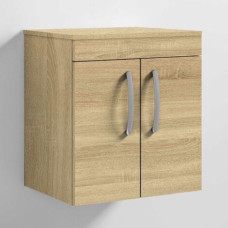 Nuie Athena Wall Hung 2-Door Vanity Unit and Worktop 500mm Wide - Natural Oak