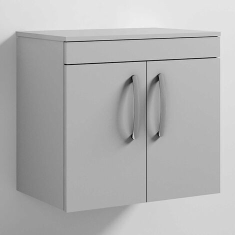 Nuie Athena Wall Hung 2-Door Vanity Unit and Worktop 600mm Wide - Gloss Grey Mist