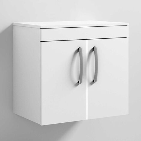 Nuie Athena Wall Hung 2-Door Vanity Unit and Worktop 600mm Wide - Gloss White