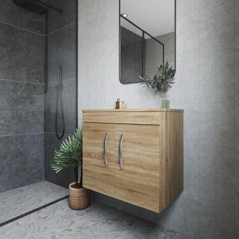 Nuie Athena Wall Hung 2-Door Vanity Unit and Worktop 600mm Wide - Natural Oak
