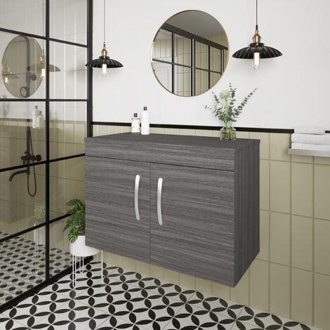 Nuie Athena Wall Hung 2-Door Vanity Unit and Worktop 800mm Wide - Brown Grey Avola
