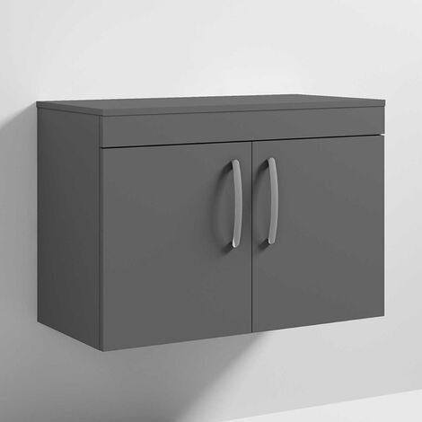 Nuie Athena Wall Hung 2-Door Vanity Unit and Worktop 800mm Wide - Gloss Grey