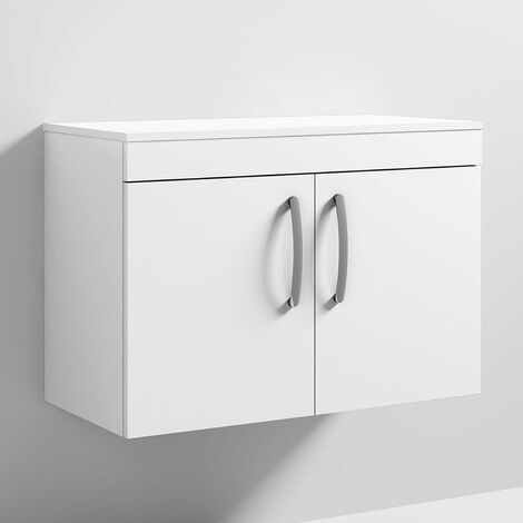 Nuie Athena Wall Hung 2-Door Vanity Unit and Worktop 800mm Wide - Gloss White