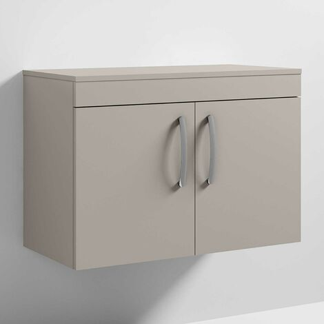 Nuie Athena Wall Hung 2-Door Vanity Unit and Worktop 800mm Wide - Stone Grey