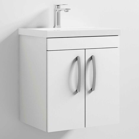 Nuie Athena Wall Hung 2-Door Vanity Unit Basin-1 500mm Wide - Gloss White