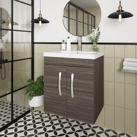 Nuie Athena Wall Hung 2-Door Vanity Unit with Basin-1 500mm Wide - Brown Grey Avola