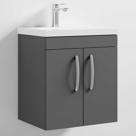 Nuie Athena Wall Hung 2-Door Vanity Unit with Basin-1 500mm Wide - Gloss Grey