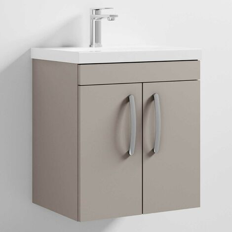 Nuie Athena Wall Hung 2-Door Vanity Unit with Basin-1 500mm Wide - Stone Grey