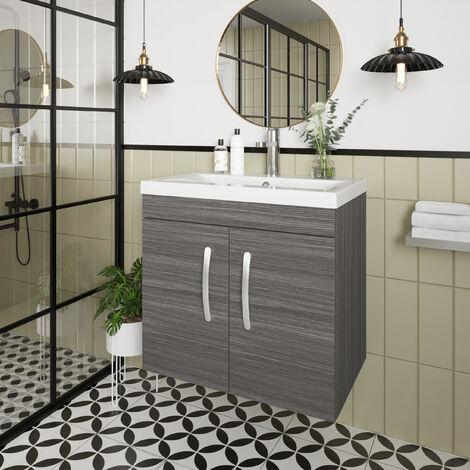 Nuie Athena Wall Hung 2-Door Vanity Unit with Basin-1 600mm Wide - Brown Grey Avola