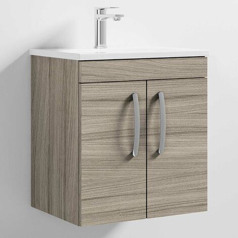 Nuie Athena Wall Hung 2-Door Vanity Unit with Basin-2 500mm Wide - Driftwood