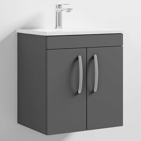 Nuie Athena Wall Hung 2-Door Vanity Unit with Basin-2 500mm Wide - Gloss Grey