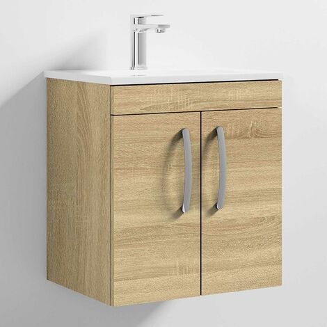 """main image of """"Nuie Athena Wall Hung 2-Door Vanity Unit with Basin-2 500mm Wide - Natural Oak"""""""