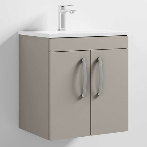 Nuie Athena Wall Hung 2-Door Vanity Unit with Basin-2 500mm Wide - Stone Grey