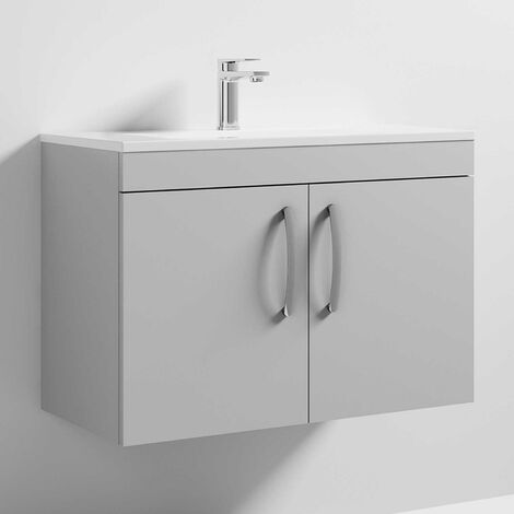 Nuie Athena Wall Hung 2-Door Vanity Unit with Basin-2 800mm Wide - Gloss Grey Mist