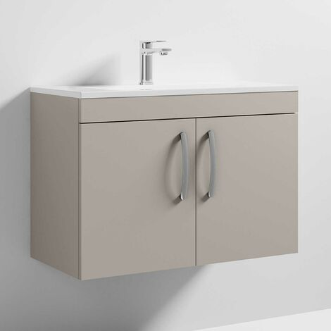 Nuie Athena Wall Hung 2-Door Vanity Unit with Basin-2 800mm Wide - Stone Grey