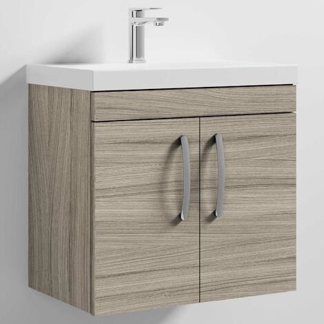 Nuie Athena Wall Hung 2-Door Vanity Unit with Basin-3 600mm Wide - Driftwood