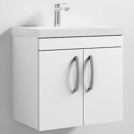 Nuie Athena Wall Hung 2-Door Vanity Unit with Basin-3 600mm Wide - Gloss White