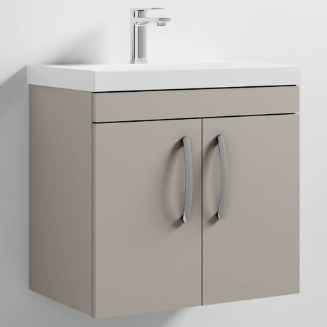 Nuie Athena Wall Hung 2-Door Vanity Unit with Basin-3 600mm Wide - Stone Grey