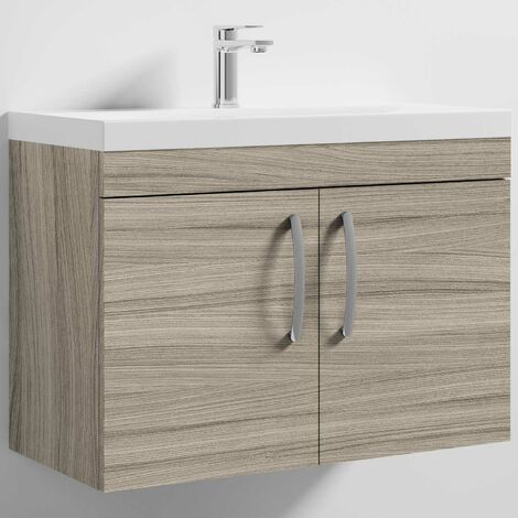 Nuie Athena Wall Hung 2-Door Vanity Unit with Basin-3 800mm Wide - Driftwood