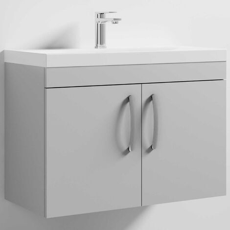 Nuie Athena Wall Hung 2-Door Vanity Unit with Basin-3 800mm Wide - Gloss Grey Mist