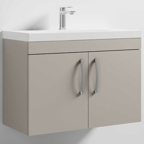 Nuie Athena Wall Hung 2-Door Vanity Unit with Basin-3 800mm Wide - Stone Grey